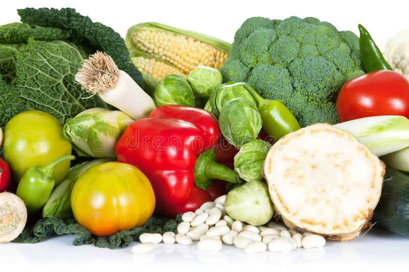 Fresh Vegetables. Fresh raw vegetables composition isolated on white. Close view royalty free stock photography