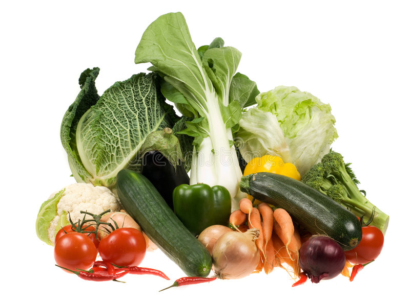 Fresh vegetables. Isolated on a white background royalty free stock image