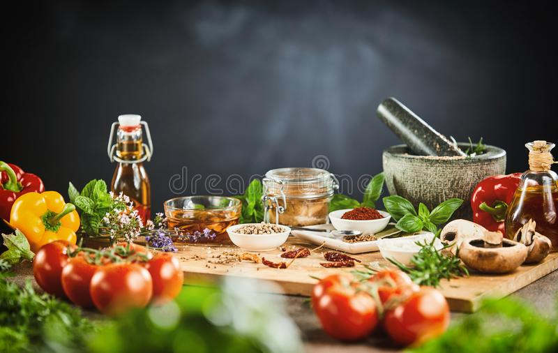Fresh vegetables, aromatic herbs and spices royalty free stock image