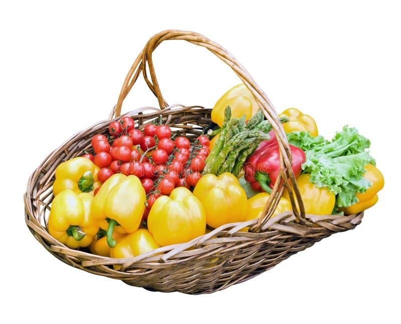 Fresh vegetables in basket royalty free stock photos