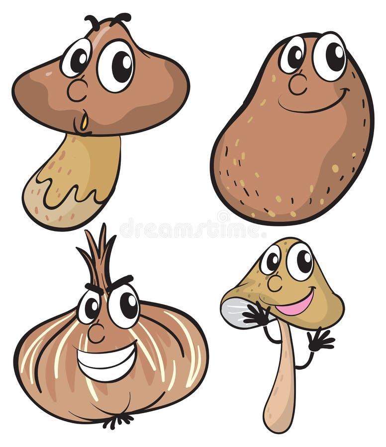Fresh vegetables in brown color stock illustration