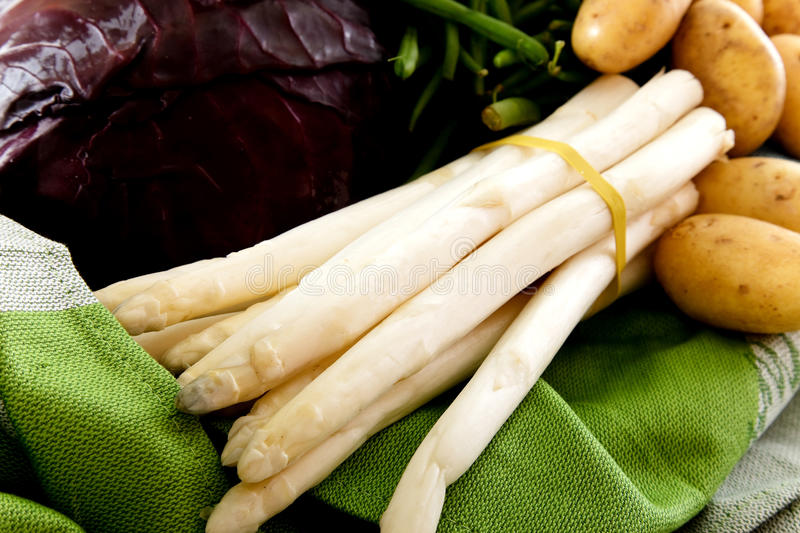 Fresh vegetables, bunch of white asparagus. Variety of fresh healthy vegetables. Bunch of white asparagus. Nutrition, food concept. Studio shot. White background royalty free stock images