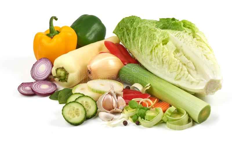 Fresh vegetables, close-up, isolated on white background royalty free stock images
