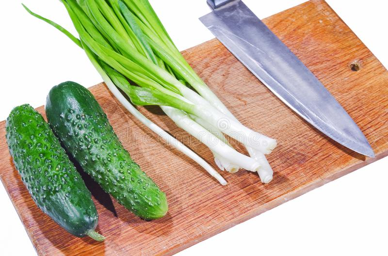 Fresh vegetables on a cutting board stock photo