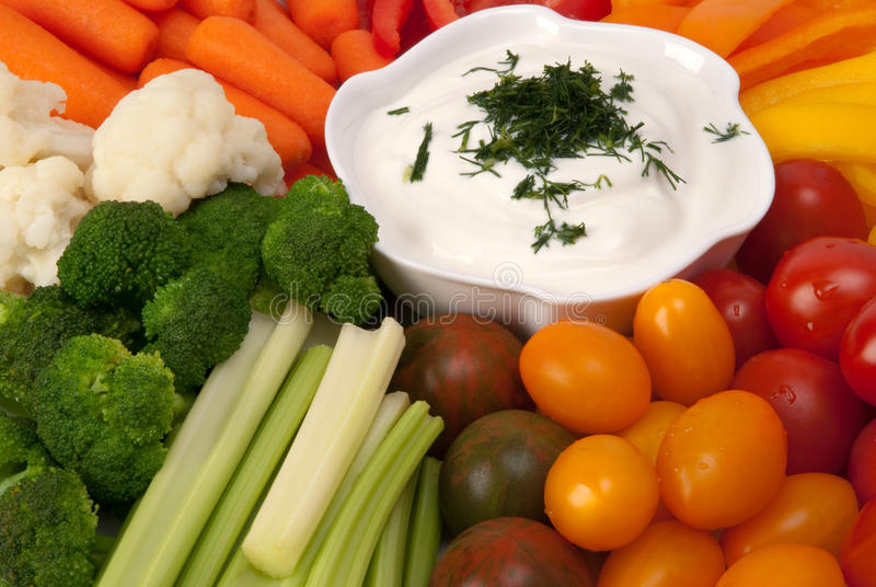 Fresh vegetables with dip stock image