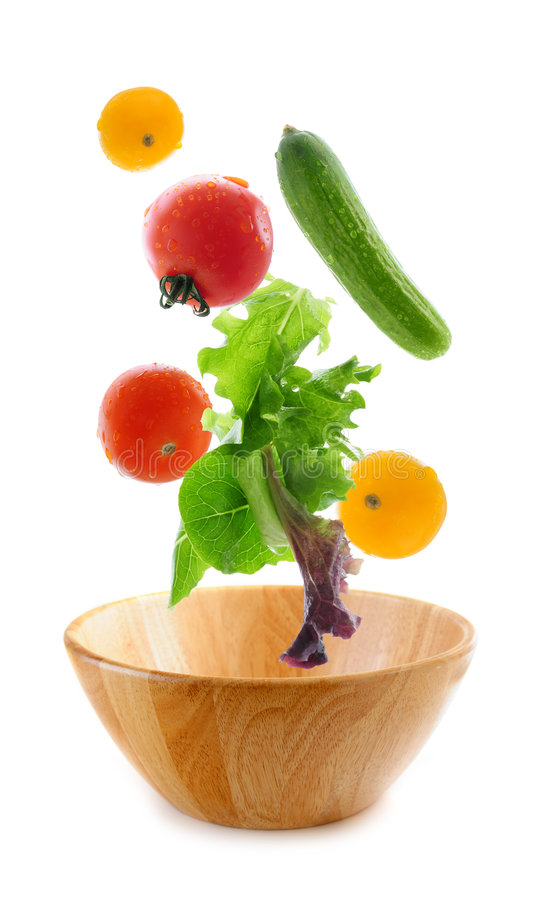 Fresh vegetables falling stock image
