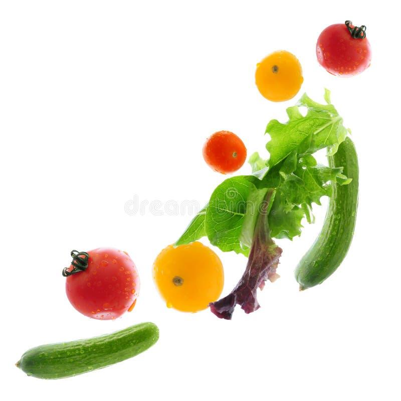 Fresh Vegetables Flying Stock Photos