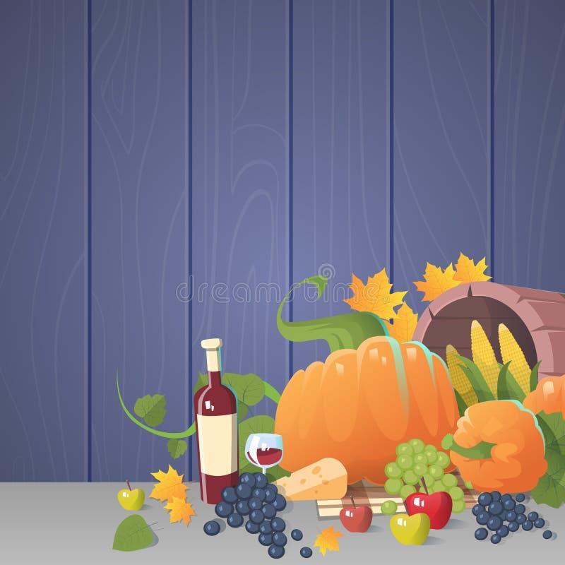 Fresh Vegetables Food Wine Fruit Set Over Wooden Background stock illustration
