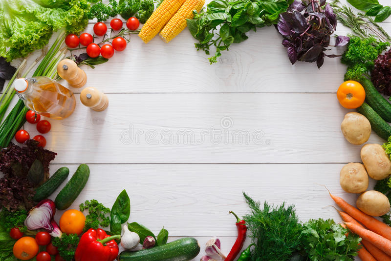 Fresh Vegetables Frame On White Wood Background With Copy Space ...