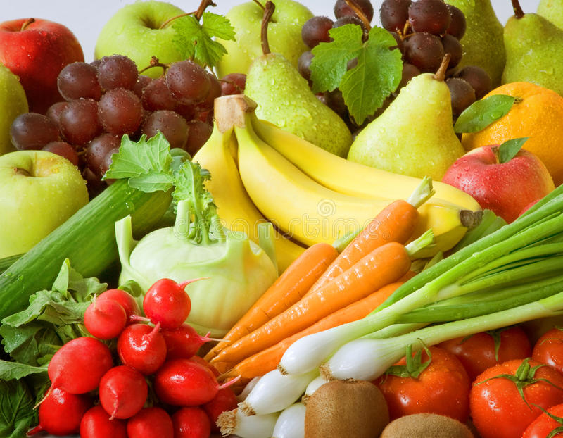 Fresh vegetables and fruit royalty free stock photos