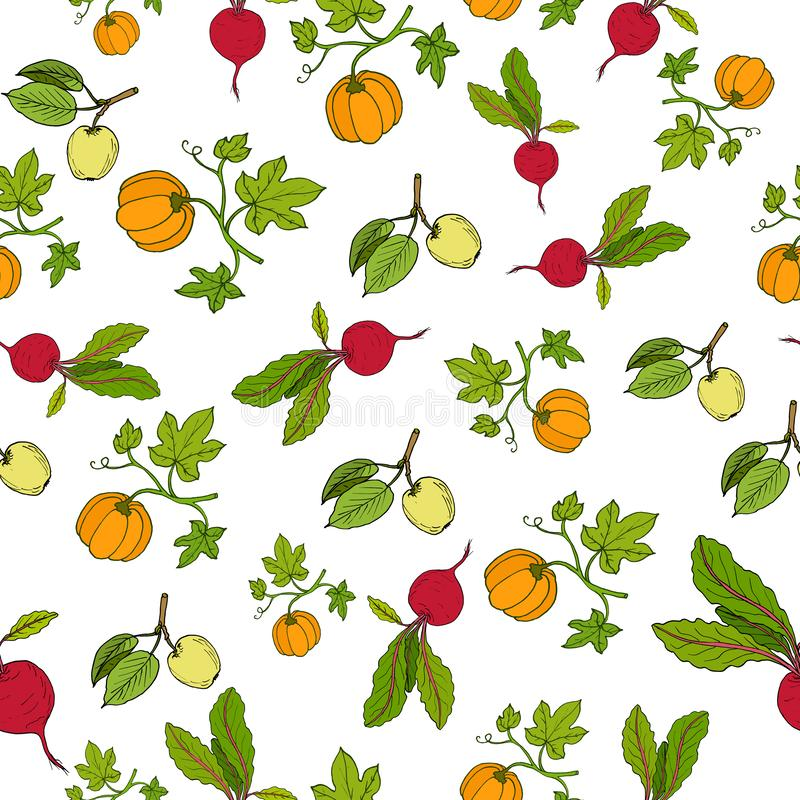 Fresh vegetables and fruits seamless pattern royalty free illustration