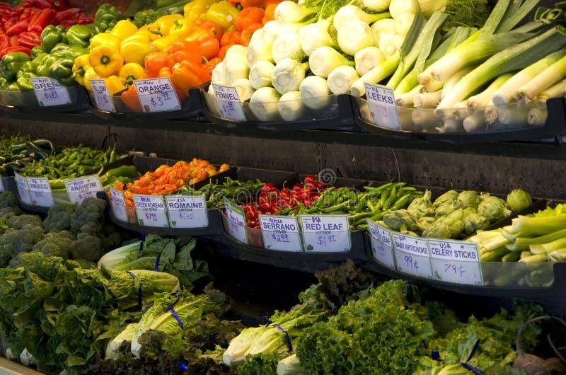 Fresh vegetables grocery store supermarket stock photo