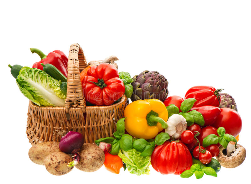 Download Fresh Vegetables And Herbs. Shopping Basket. Healthy Nutrition Stock Image - Image of assortment, herbal: 58824991