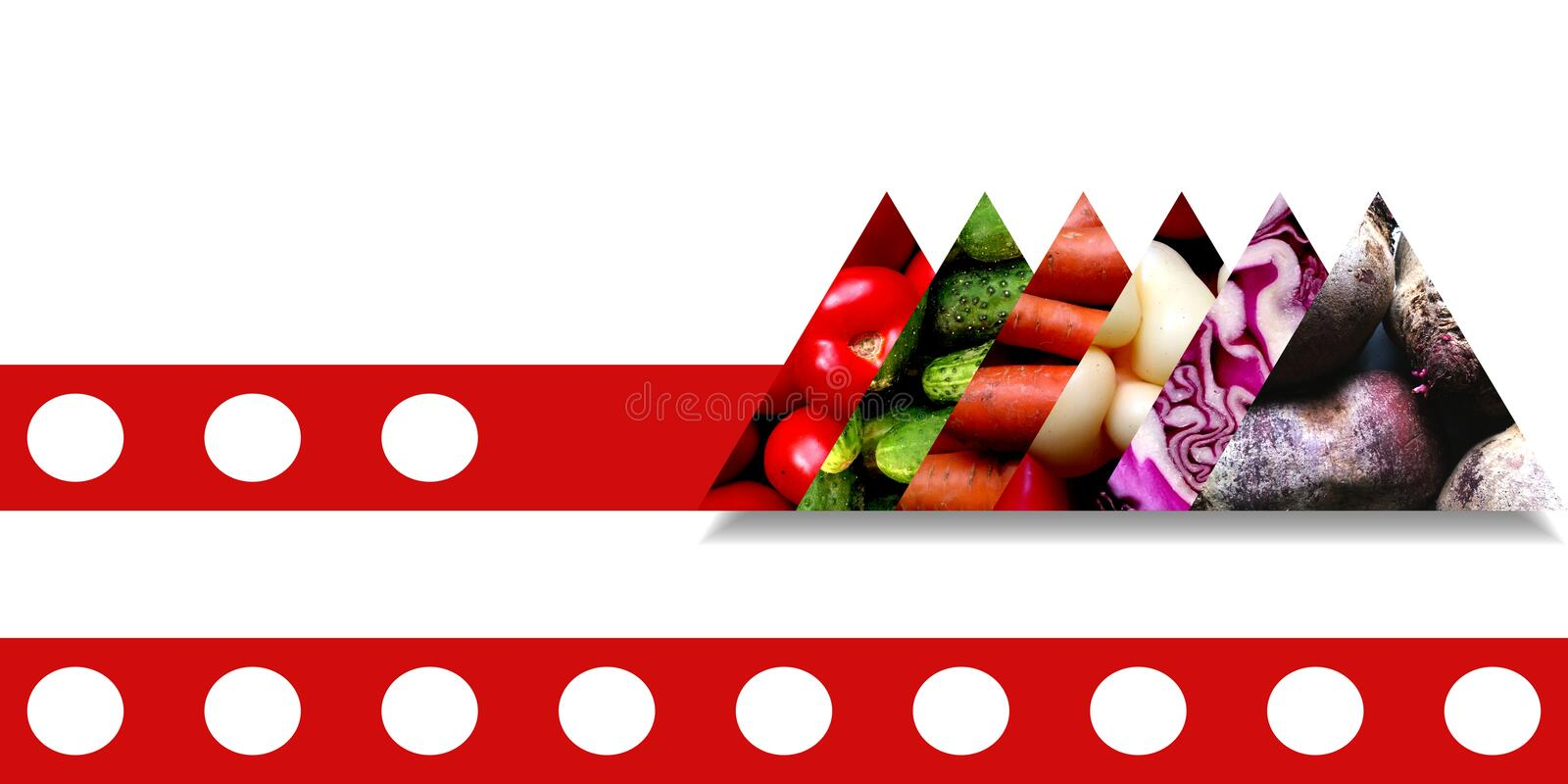Fresh vegetables inside six side by side triangles. Set of triangles with shadow below and filled with fresh vegetables: tomatoes, cucumbers, carrots, sweet stock illustration