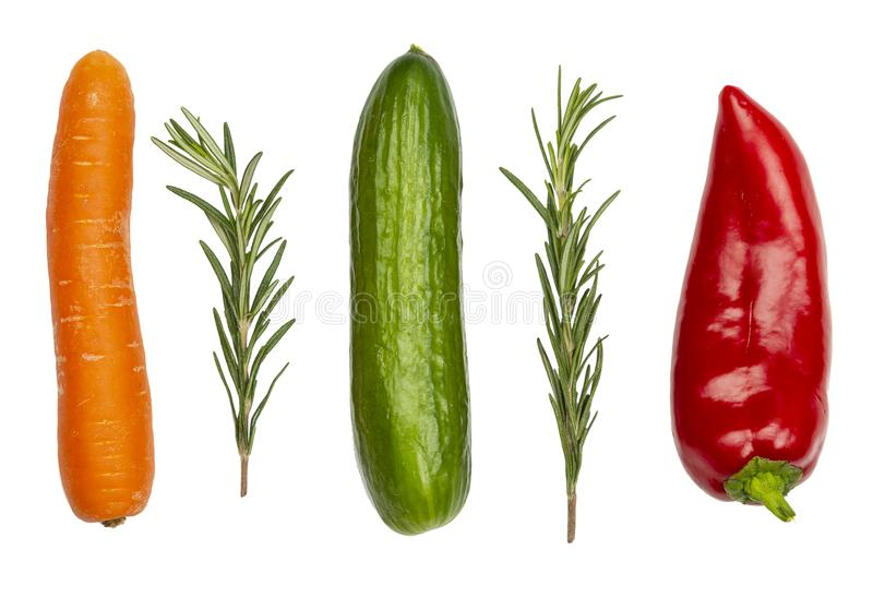Fresh vegetables isolated on white. Carrot, cucumber, pepper and stock images