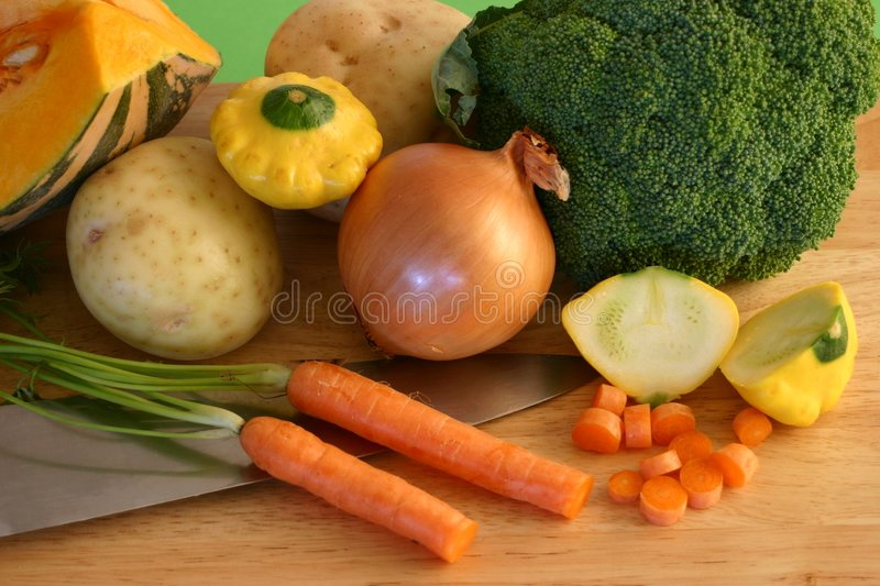 Fresh Vegetables with Knife stock photo