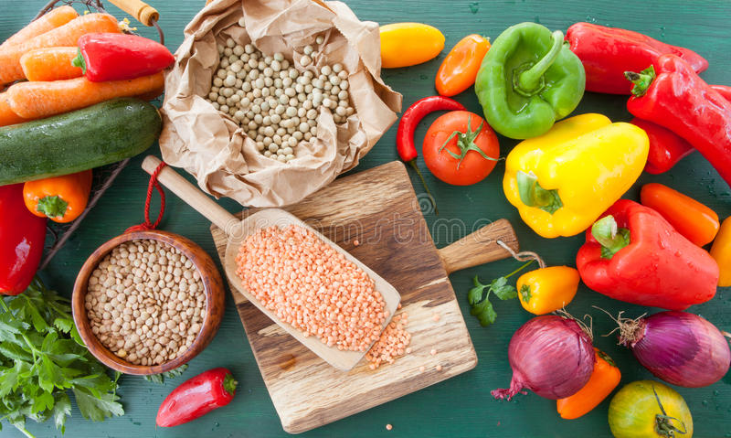 Fresh vegetables and legumes. For vegan cooking stock photo