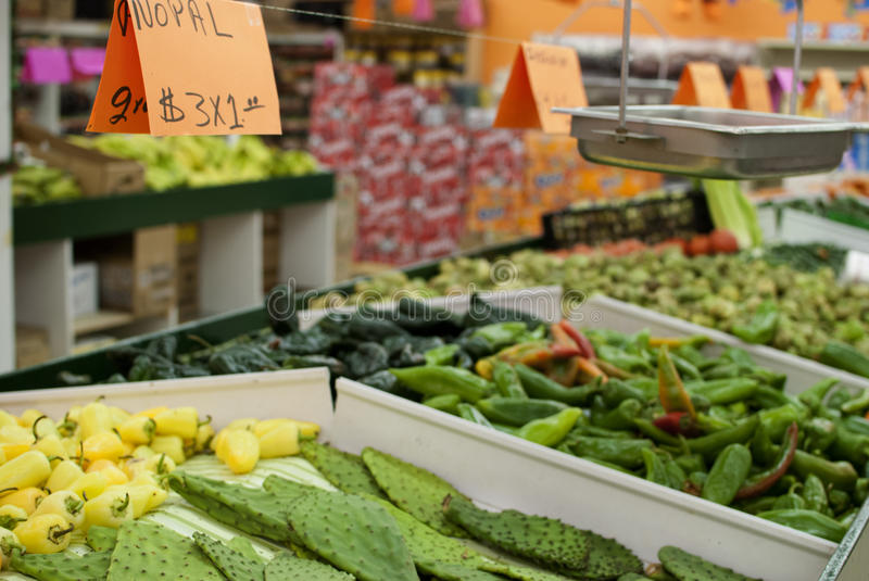 Fresh vegetables at a mexican supermarket royalty free stock photography