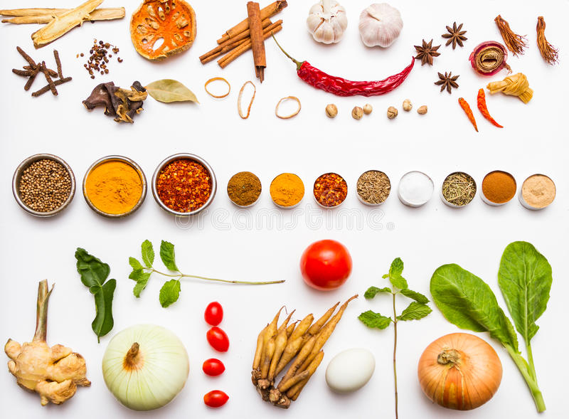 Fresh vegetables and other healthy foods on white background. stock photography
