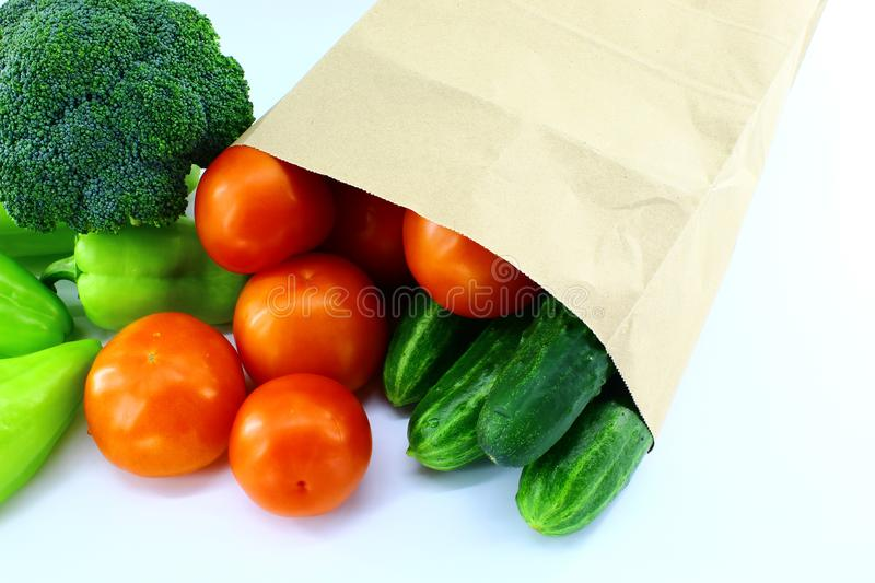 Fresh vegetables in a paper bag from the store royalty free stock photography