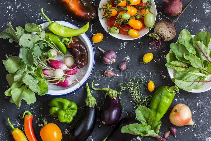 Fresh vegetables - radishes, eggplant, pepper, tomatoes, onion, garlic on a dark wooden background. Top view stock photos
