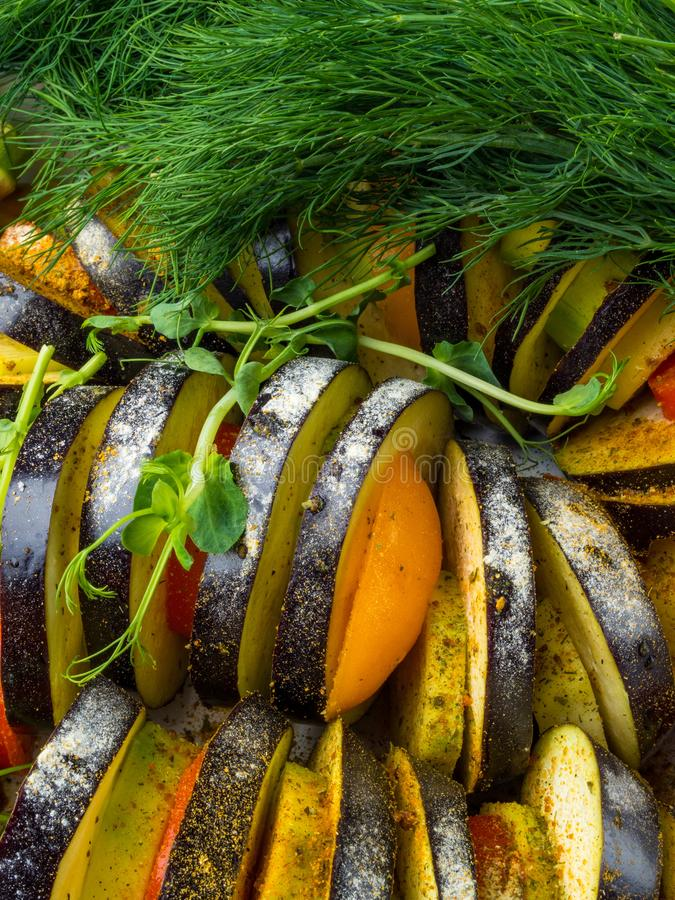 Fresh vegetables Ratatouille - traditional French Provencal vegetable dish cooked in oven. Diet vegetarian vegan food. Ratatouille - traditional French Provencal royalty free stock images