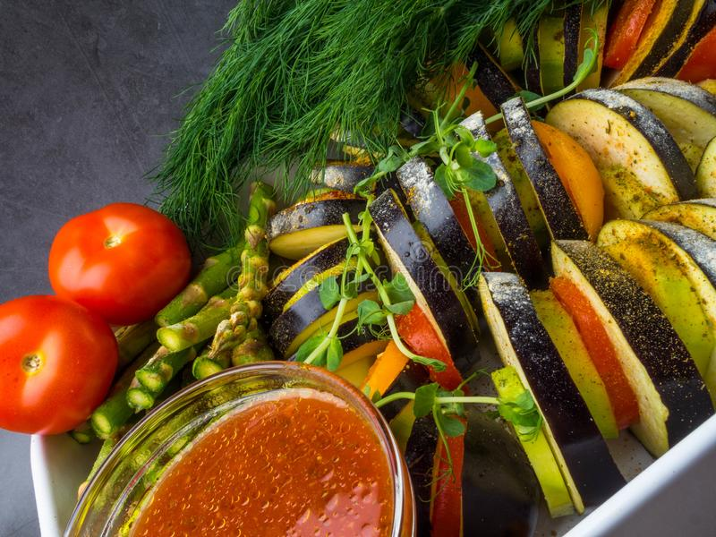 Fresh vegetables Ratatouille - traditional French Provencal vegetable dish cooked in oven. Diet vegetarian vegan food. Ratatouille - traditional French Provencal royalty free stock photo