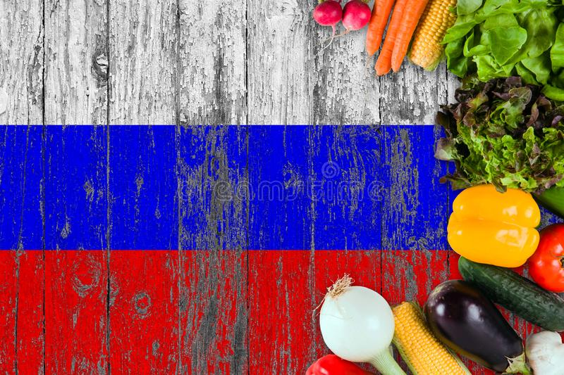 Fresh vegetables from Russia on table. Cooking concept on wooden flag background royalty free stock images