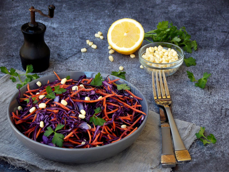 Fresh vegetables salad with purple cabbage, carrot, sprouted mung, parsley on grey clay plate on dark background. Cole Slaw Salad. Of red cabbage royalty free stock image