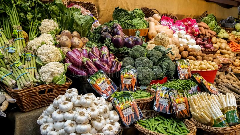 Fresh vegetables for sale in the marketplace stock photos