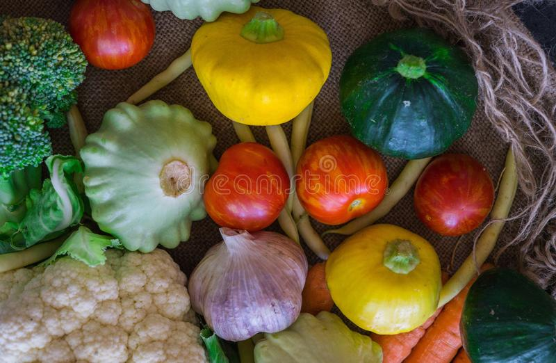 Fresh vegetables, small squash, as well as other vegetables, cauliflower, broccoli, garlic, tomatoes grown on an eco-farm.  royalty free stock image