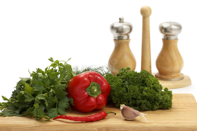 Download Fresh Vegetables And Spices On White Background. Stock Photo - Image: 21571176