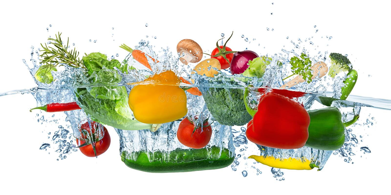 Fresh vegetables splashing into blue clear water splash healthy food diet freshness concept isolated white background stock images