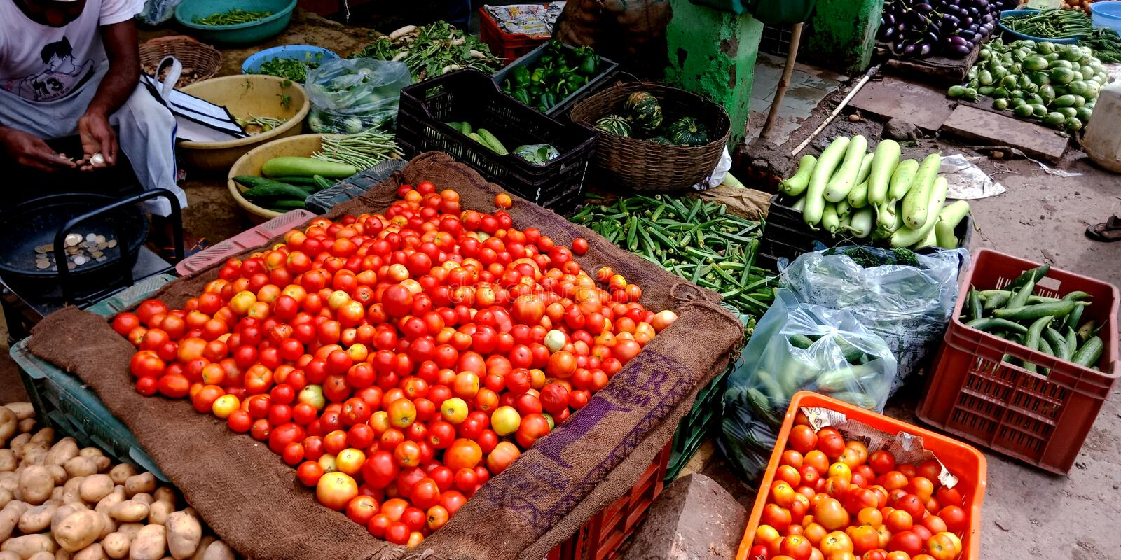 Fresh vegetables store at Indian farmers market royalty free stock photos