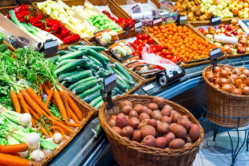 Fresh vegetables in the store on the layout stock images