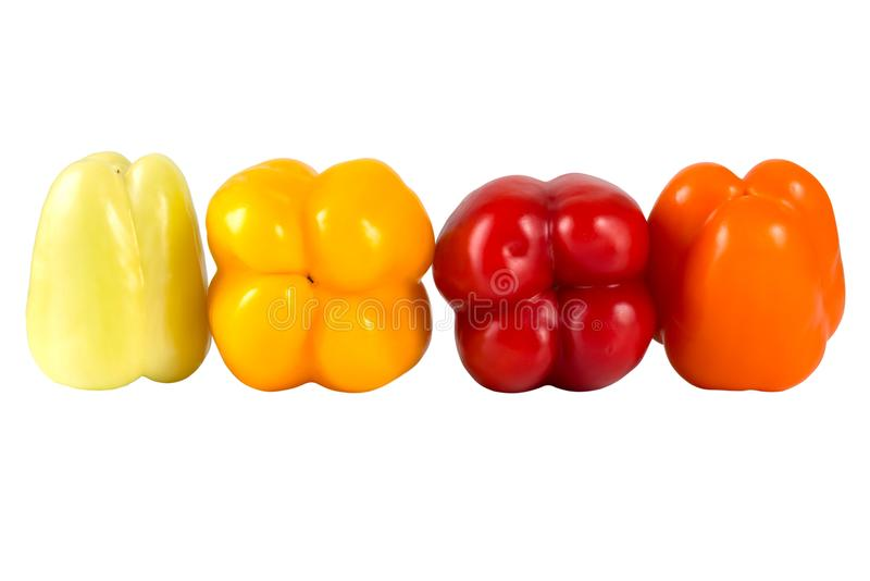 Fresh vegetables. Sweet red, yellow, green, orange peppers isolated on white background. stock photo