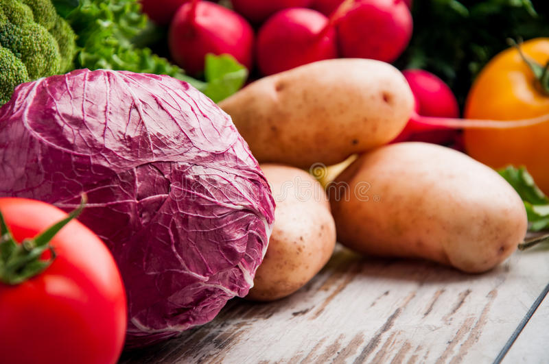 Fresh vegetables on the table wood. Fresh vegetables on the table stock photos