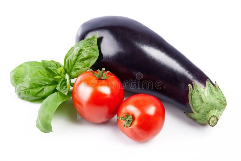 Fresh vegetables tomatoes eggplant basil still life royalty free stock photo