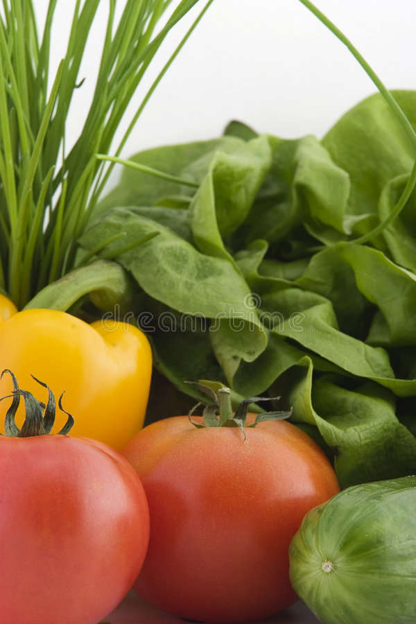 Fresh vegetables on white back royalty free stock photography