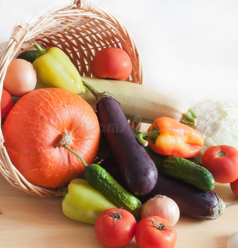 Fresh Vegetables In Wicker Basket Stock Image