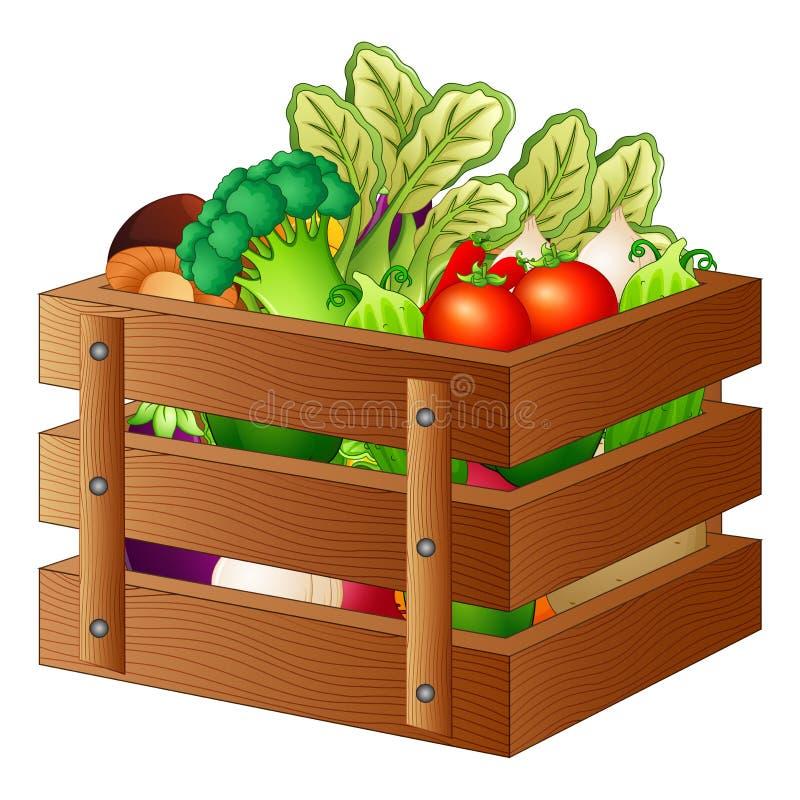 Fresh vegetables in a wooden box. Illustration of Fresh vegetables in a wooden box royalty free illustration