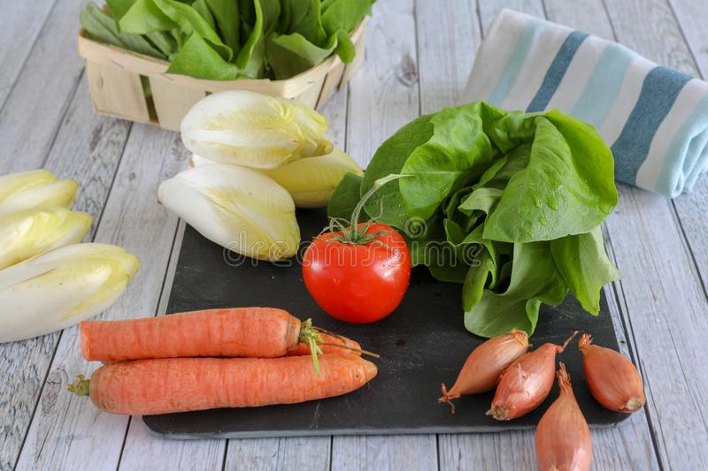 Fresh vegetables on wooden table royalty free stock photography