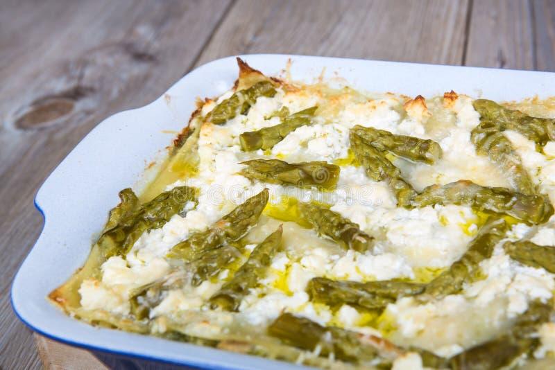 Fresh vegetarian lasagna with asparagus royalty free stock photography