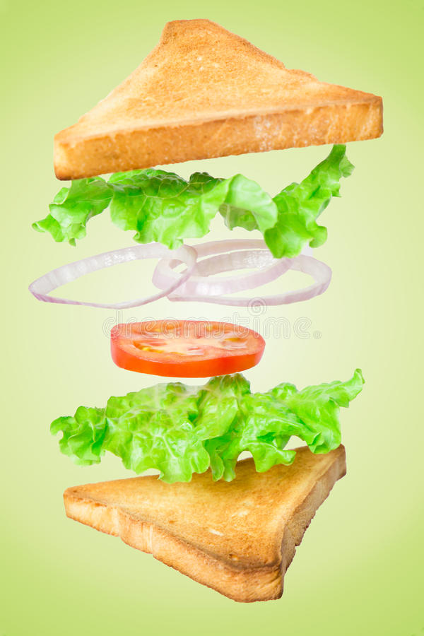 Fresh vegetarian sandwich with flying ingredients on green background royalty free stock photos