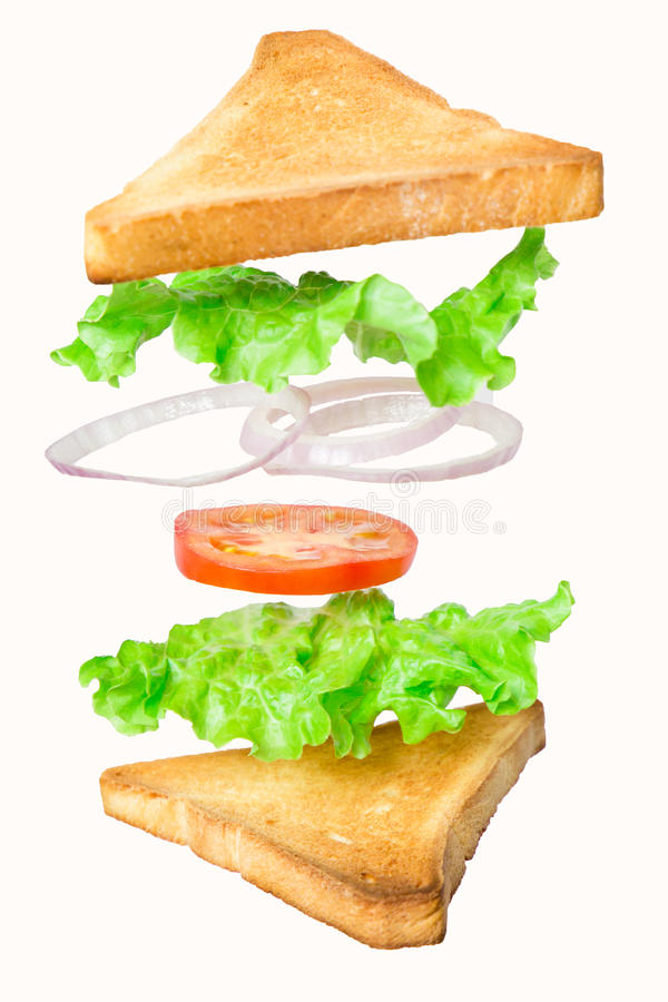 Fresh vegetarian sandwich with flying ingredients isolated on white background stock image