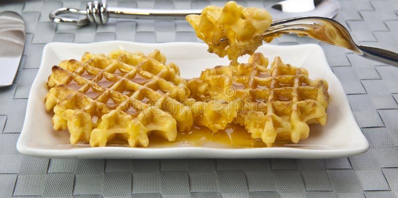 Fresh Waffles. And Honey for breakfast stock photos