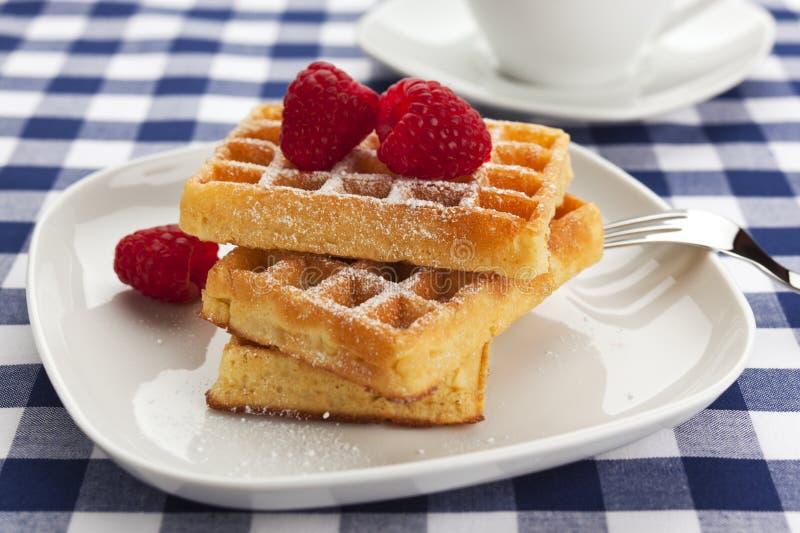 Fresh waffles with powdered sugar and raspberries