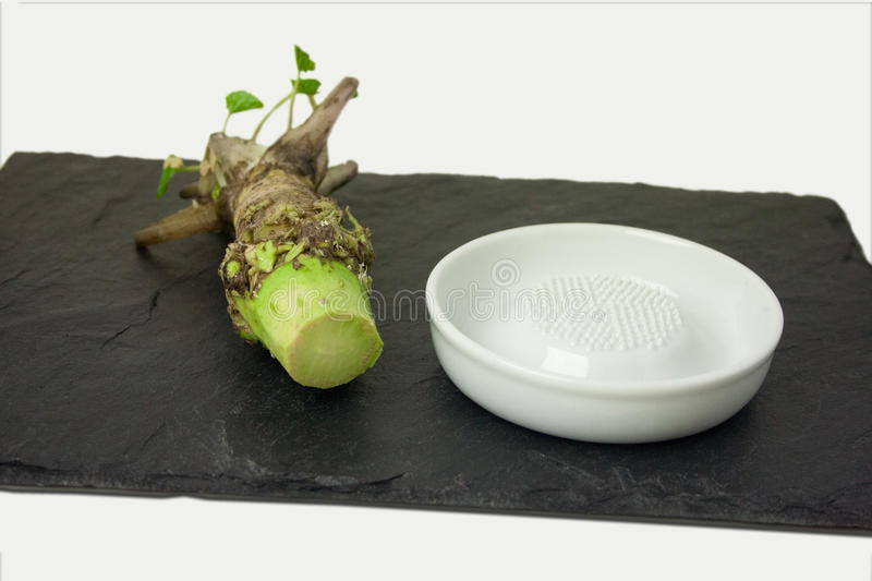 Fresh Wasabi root with ceramic grinder stock photos