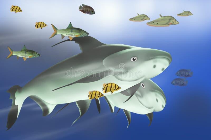 Fresh water fish masses stock illustration