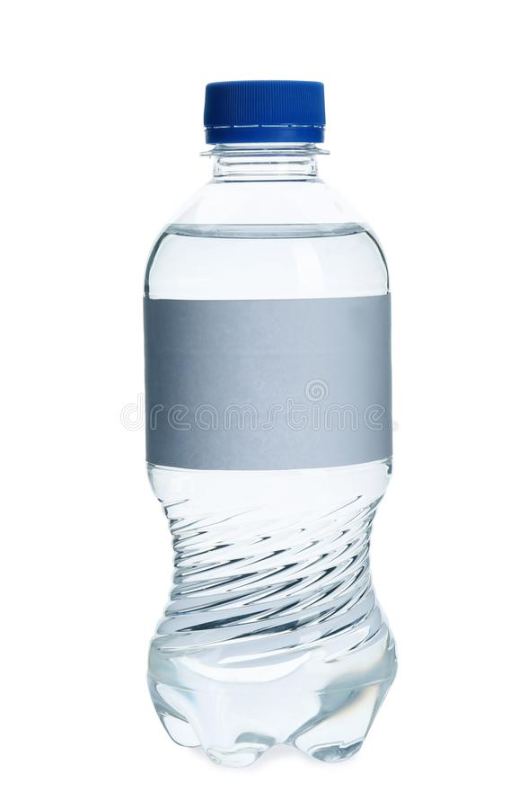 Fresh water in plastic bottle with empty label on white background royalty free stock image